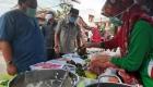 Keterangan Foto : Wali Kota H.M Syarfi Hutauruk Didampingin PLT Kadis Capil Amarullah Gultom Saat berbelanja Makanan Buka Puasa
